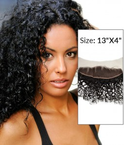 "8-20""  13""x4"" Curly Free Part/Middle Part/Three Part Brazilian Remy Human Hair Lace Frontal"
