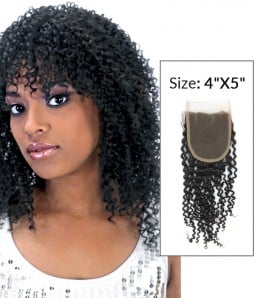 "4""x5"" Jerry Curly 8-20"" Free Part/Middle Part/Three Part Remy Human Hair Top Closure"