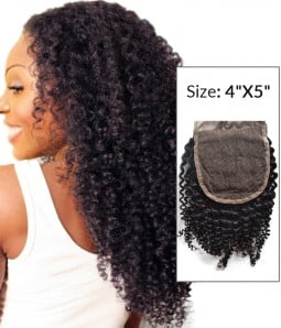 "4""x5"" Kinky Curly 8-20"" Free Part/Middle Part/Three Part Remy Human Hair Top Closure"