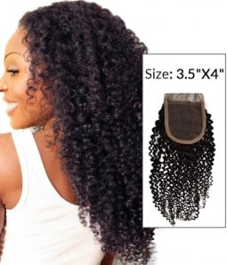 "8-20"" 3.5""x4"" Kinky Curly Free Part/Middle Part Brazilian Remy Human Hair Lace Closure"