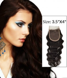 "8-20"" 3.5""x4"" Loose Curly Free Part/Middle Part Brazilian Remy Human Hair Lace Closure"