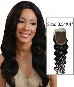 "3.5""x4"" Loose Wave Brazilian Remy Human Hair Lace Closure"