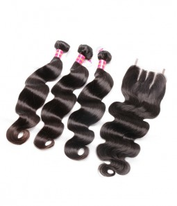 Body Wave Virgin Remy Human Hair 3 Bundles Weave With Closure