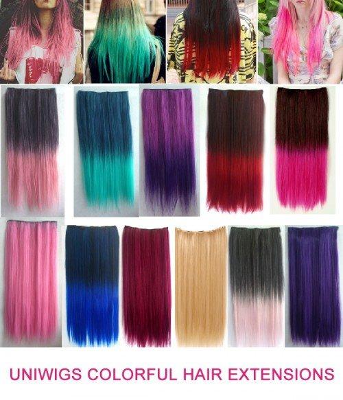 Uniwigs Colorful Clip in Hair Extension 60cm Length Straight for Fashion Women