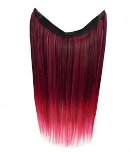 "20"" Ombre Pink Straight Heat Friendly Synthetic Flip & Clip In Hair Extension"