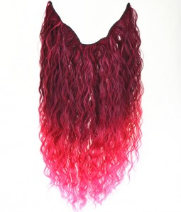 "20"" Ombre Pink Curly Heat Friendly Synthetic Flip & Clip In Hair Extension"